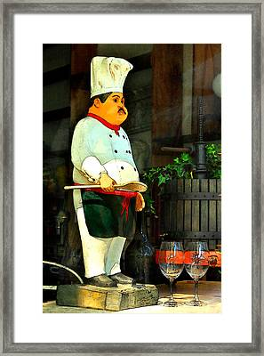 The Chef In The Window Framed Print by James Eddy