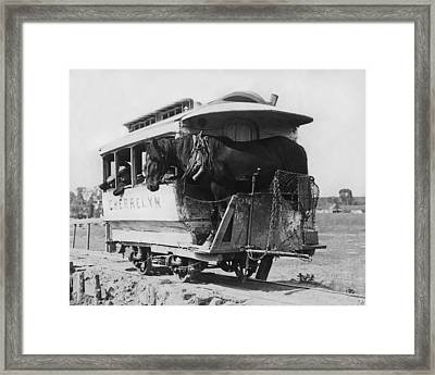 The Cherrelyn Horse Car Framed Print by Underwood Archives
