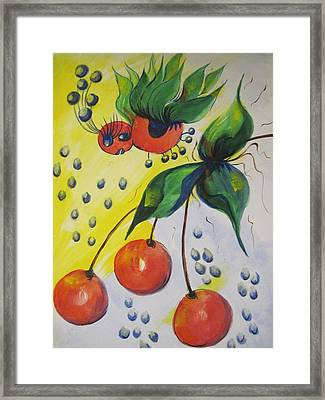 The Cherry Fairy Framed Print by Shirley Watts