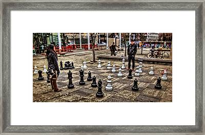 The Chess Match In Pdx Framed Print