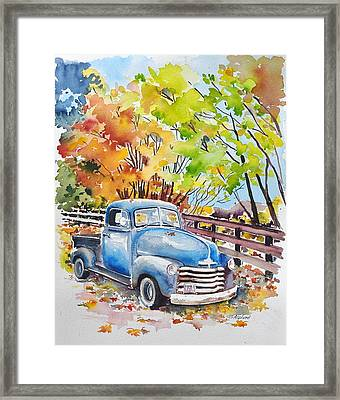 The Old Chevy In Autumn Framed Print