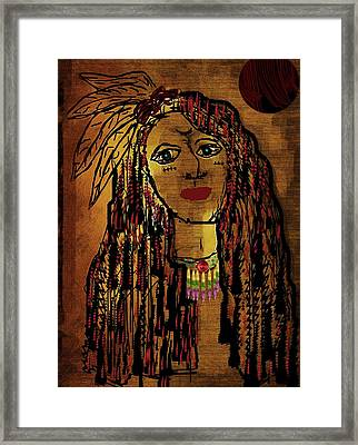 The Cheyenne Indian Warrior Brave Wolf Pop Art Framed Print by Pepita Selles