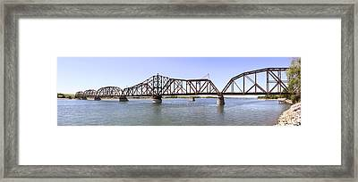 The Chicago And North Western Railroad Bridge Panoramic Framed Print by Mike McGlothlen
