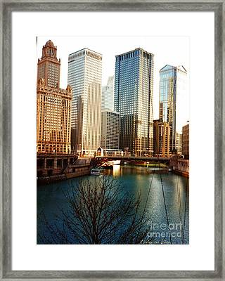 The Chicago River From The Michigan Avenue Bridge Framed Print by Mariana Costa Weldon