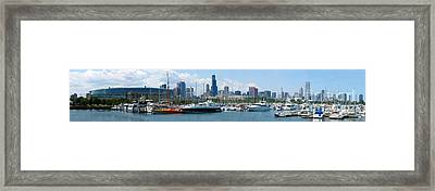 the Chicago Skyline with Burnham Harbor and Soldier Field Framed Print
