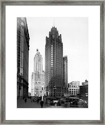 The Chicago Tribune Building Framed Print by Underwood Archives