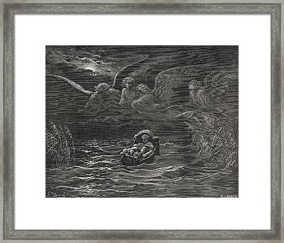 The Child Moses On The Nile Framed Print by Gustave Dore