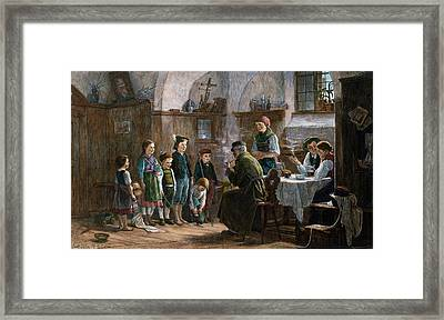The Children And The Uncle. Studied In Vienna And Munich Framed Print
