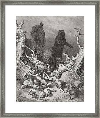 The Children Destroyed By Bears Framed Print by Gustave Dore