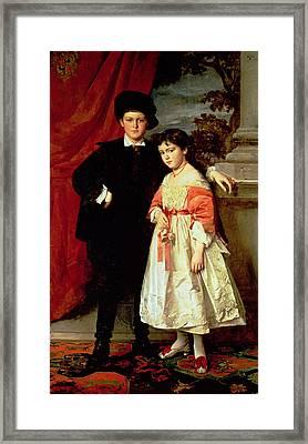 The Children Of Freiherr Von Seidler Framed Print by Heinrich von Angeli