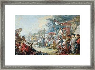 The Chinese Fair, C.1742 Oil On Canvas Framed Print by Francois Boucher