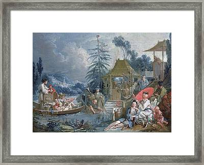 The Chinese Fishermen, C.1742 Oil On Canvas Framed Print by Francois Boucher