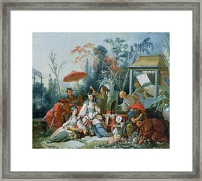 The Chinese Garden, C.1742 Oil On Canvas Framed Print by Francois Boucher