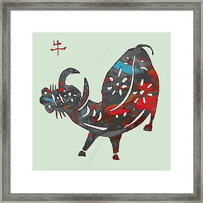 The Chinese Lunar Year 12 Animal - Ox Pop Stylised Paper Cut Art Poster Framed Print by Kim Wang