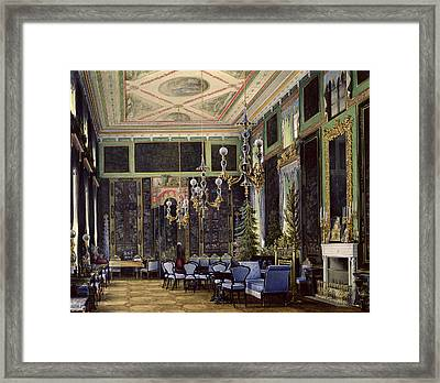 The Chinese Room In The Great Palais In Tsarskoye Selo Wc, Gouache And Ink On Paper Framed Print by Eduard Hau