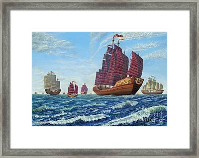 The Chinese Treasure Fleet Sets Sail Framed Print
