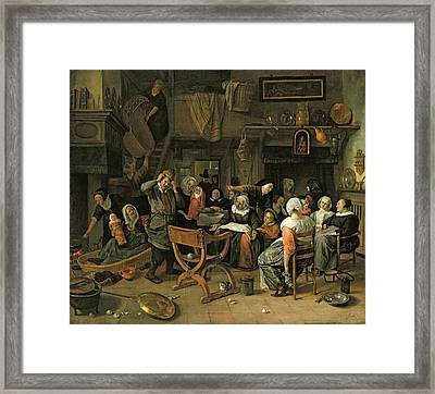 The Christening Feast, 1668 Oil On Canvas Framed Print