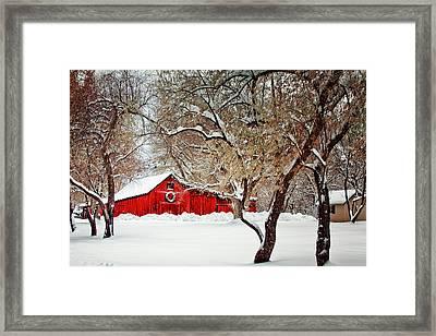 The Christmas Barn Framed Print by Teri Virbickis