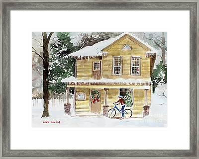 The Christmas Bike Framed Print by Monte Toon