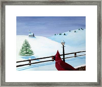 The Christmas Cardinal Framed Print by Spencer Hudon II