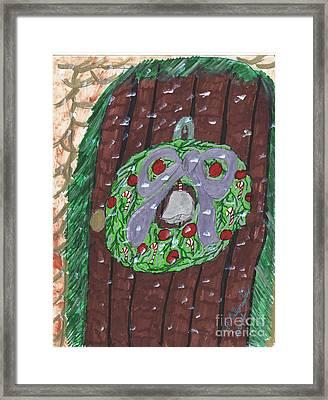 The Christmas Door Wreathe Framed Print by Elinor  Rakowski