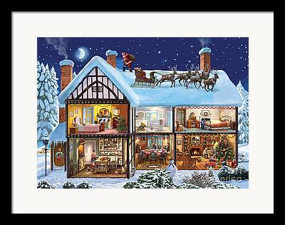 Snowy Night Digital Art Framed Prints