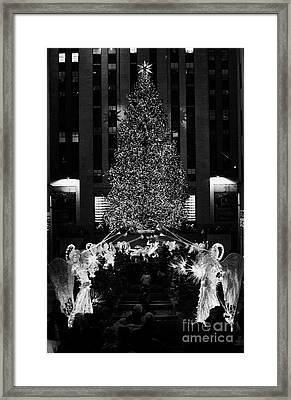 The Christmas Tree Lit Up At Night At The Rockefeller Centr New York City Framed Print