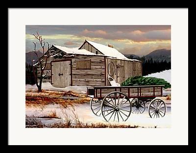 Wagon In A Barn Framed Prints