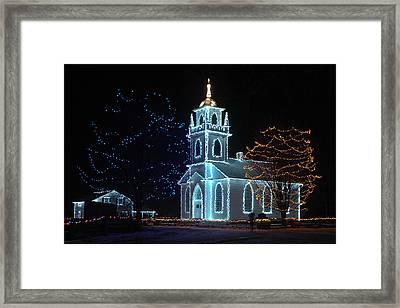 The Church - Alight At Night. Upper Canada Village Framed Print