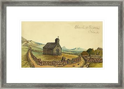 The Church At Thingvalla Iceland Circa 1862 Framed Print by Aged Pixel