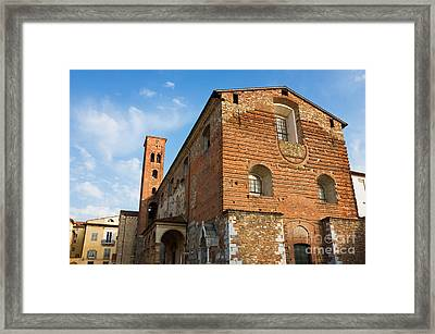 The Church Of San Romano Facade In Lucca Italy Framed Print