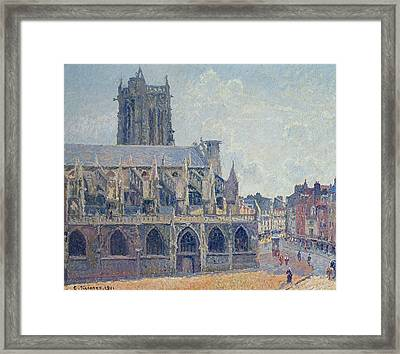 The Church Of St Jacques In Dieppe Framed Print by Camille Pissarro