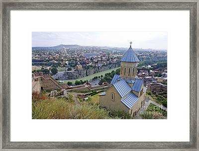 The Church Of St Nicolas Overlooking Tbilisi Georgia Framed Print by Robert Preston