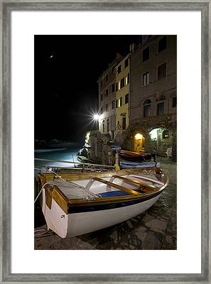 The Cinque Terre - Moon Over Riommagiore Harbor Framed Print