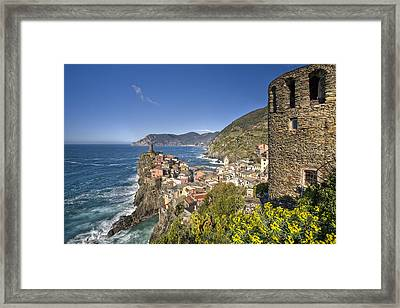 The Cinque Terre - Vernazza From The Upper Castle Framed Print