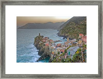 The Cinque Terre - Vernazza Morning Looking North Framed Print