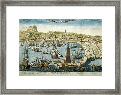 The City And Port Of Barcelona 18th C Framed Print by Everett