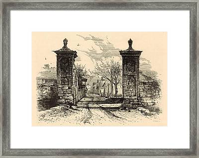 The City Gate - St. Augustine 1872 Engraving By Harry Fenn Framed Print