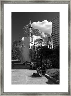Framed Print featuring the photograph The City Hall Of Philadelphia In Black And White by Dorin Adrian Berbier
