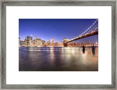 The City Lights Of Manhattan - Brooklyn Bridge Framed Print by Mark E Tisdale