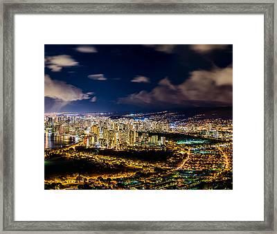 The City Of Aloha - Triptych Center Framed Print by Jason Chu