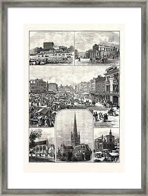 The City Of Norwich, Engraving 1876, Uk, Britain Framed Print