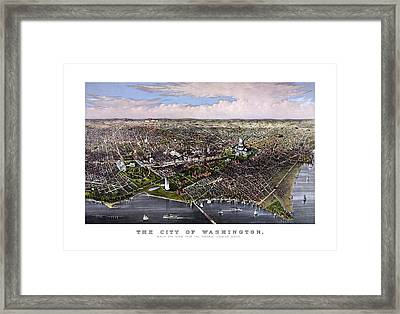 The City Of Washington Birds Eye View Framed Print by War Is Hell Store