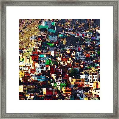 The City On The Hill V1 Square Framed Print by Wingsdomain Art and Photography
