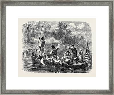 The Civil War In America Confederates Trapping A Boats Crew Framed Print by English School