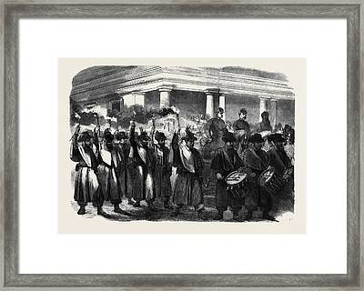 The Civil War In America Torchlight Procession Of General Framed Print by English School