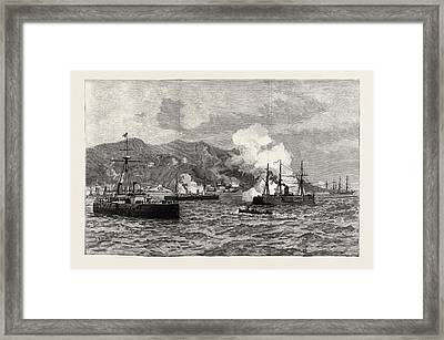The Civil War In Chile Bombardment Of Iquique Framed Print by Chilean School