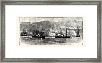 The Civil War In Chile Insurgent War Ships Being Fired Framed Print by Chilean School