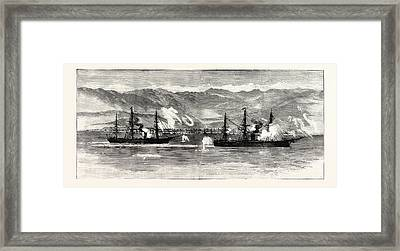 The Civil War In Chile Insurgent War Ships Exchanging Shots Framed Print by Chilean School