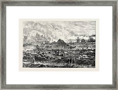 The Civil War In Chile Iquique After The Bombardment Framed Print by Chilean School